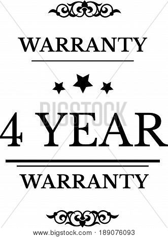4 year warranty icon vector vintage grunge guarantee background