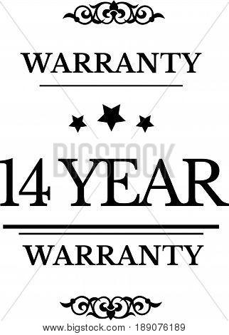 14 year warranty icon vector vintage grunge guarantee background