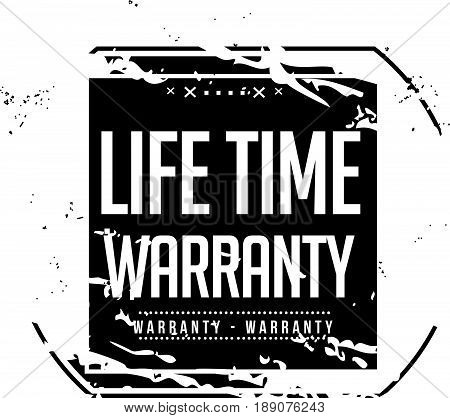 life time warranty icon vector vintage grunge guarantee background