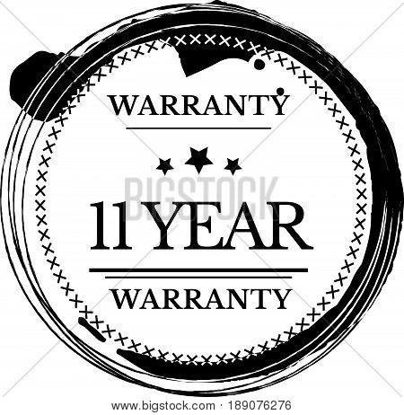 11 year warranty icon vector vintage grunge guarantee background