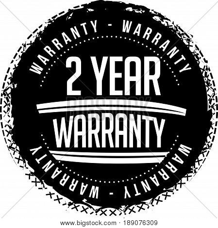 2 year warranty icon vector vintage grunge guarantee background