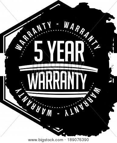 5 year warranty vintage grunge  stamp guarantee background