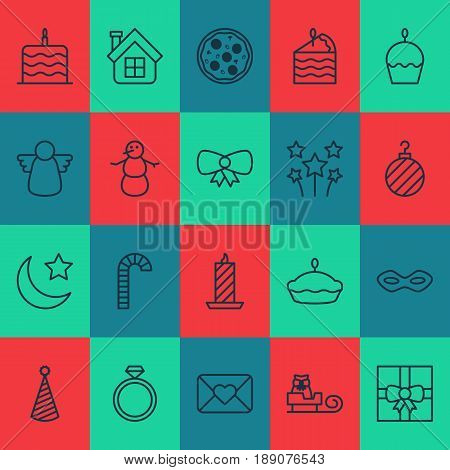Holiday Icons Set. Collection Of Carnival Face, Flan, Crescent And Other Elements. Also Includes Symbols Such As Cupcake, Sledge, Envelope.