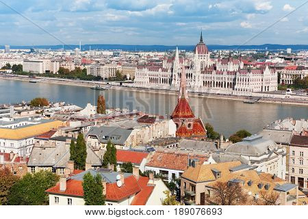Hungary. Budapest. View on Danube and Hungary parliament