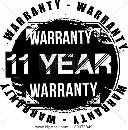11 year warranty vintage grunge rubber stamp guarantee background