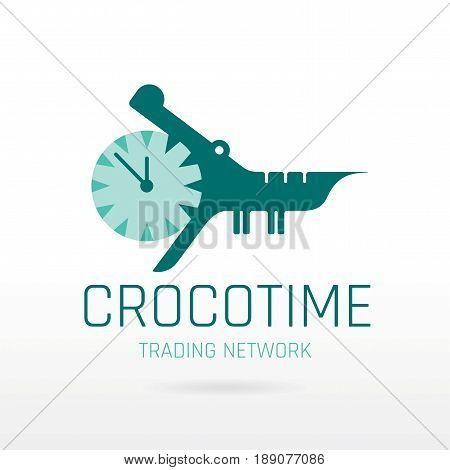 Crocodile alligator animal icon. Text lettering logo. Alarm clock mouth jaw. Abstract template. Isolated on white, modern vector illustration solhouette.