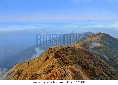 Mountain Landscape in Himalaya. Ridge Above clouds. Nepal, Annapurna region, Mardi Himal track.