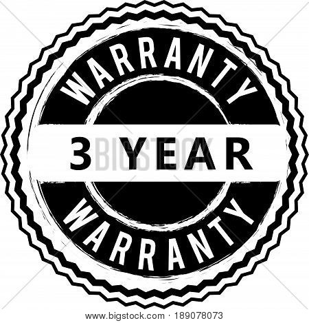 3 year warranty vintage grunge rubber stamp guarantee background