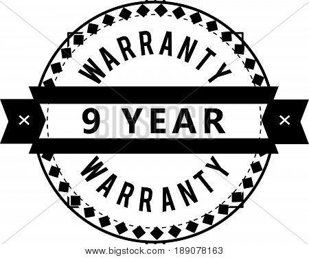 9 year warranty vintage grunge rubber stamp guarantee background