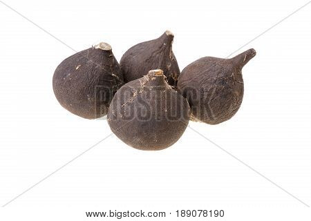 Four black radishes on a white background