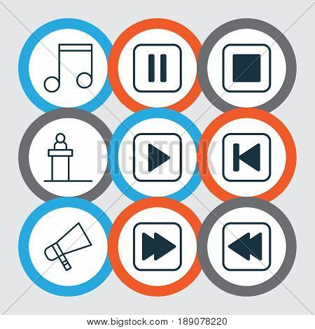 Music Icons Set. Collection Of Rewind Back, Note, Bullhorn And Other Elements. Also Includes Symbols Such As Play, Pause, Start.