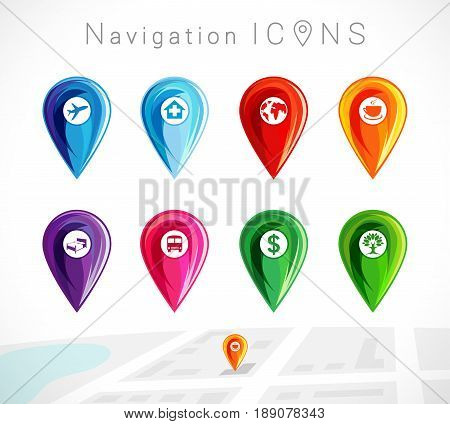 Map pointer, colorful pins location for gps navigation vector set. Map pointers icon colored