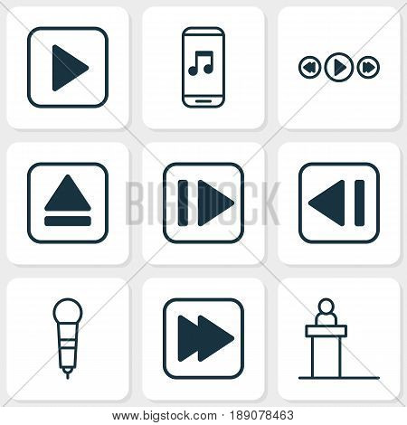 Multimedia Icons Set. Collection Of Audio Mobile, Following Song, Music Control And Other Elements. Also Includes Symbols Such As Next, Rewind, Control.