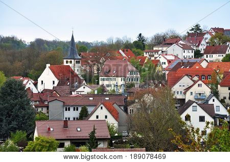 Panorama of the German village Burgstall Murr, Baden-Wurttemberg, Germany.