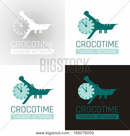 Crocodile alligator animal icon set collection. Text lettering logo. Alarm clock mouth jaw. Abstract template. Isolated on white, flat vector illustration.
