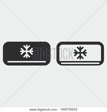 AC unit icon solid and outline isolated on grey