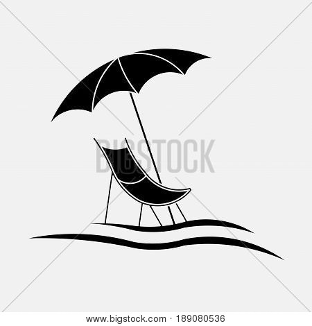 Icon chaise lounge the beach lounge chair beach vacation beach beach umbrella Paralytic on the beach lounger on the beach fully editable vector image
