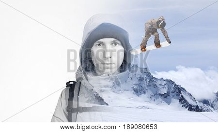 Double exposure effect photography. The face of a young man with a backpack and mountain winter landscape with a jumping snowboarder.