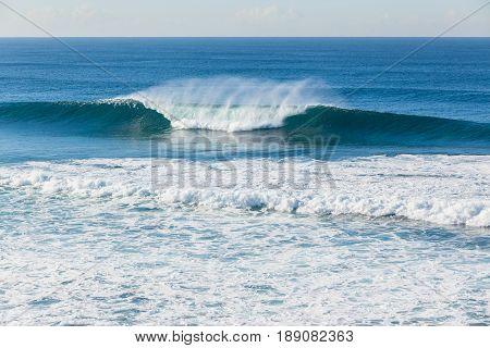Ocean Blue Wave Crashing