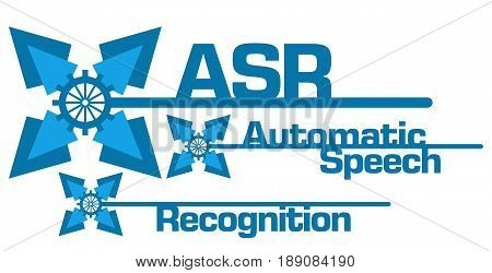 ASR - Automatic Speech Recognition text written over blue abstract background.