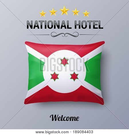 Realistic Pillow and Flag of Burundi as Symbol National Hotel. Flag Pillow Cover with Burundian flag