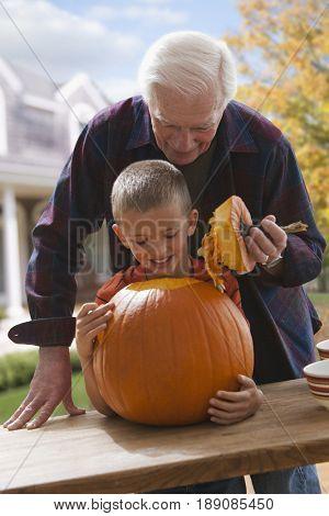 Caucasian man carving pumpkin with grandson