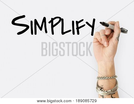 People Hand Writing Simplify Word