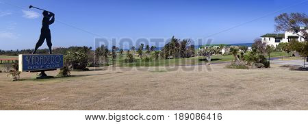 VARADERO CUBA - FEBRUARY 2013: Silhouette of golfer sign for the Varadero Golf Club on February 5 2013 in Varadero Cuba
