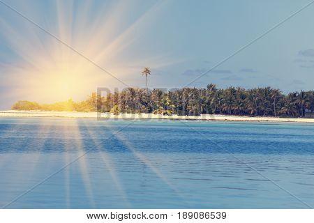 Ocean at sunset. Polynesia . Tahiti .