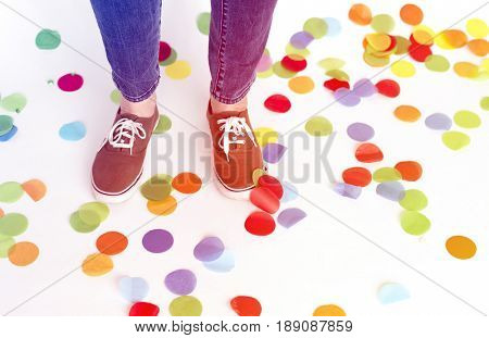 Confetti on the floor for party celebration
