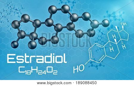 Three-dimensional Molecular Model Of Estradiol - 3D Render