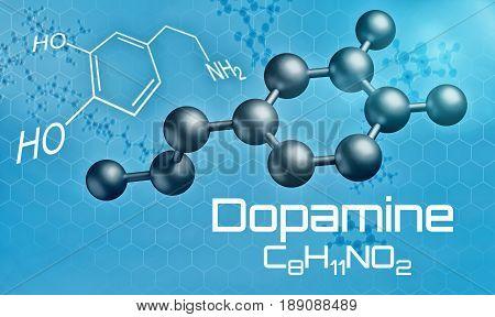 Three-dimensional Molecular Model Of Dopamine - 3D Render