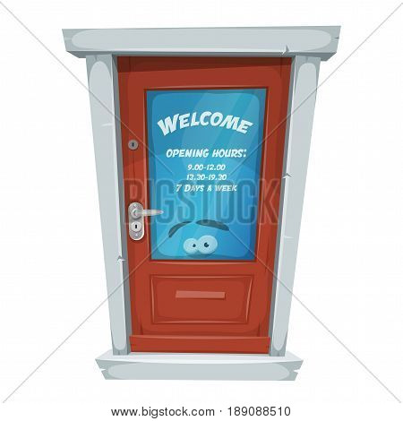 Illustration of a cartoon entry door closed with welcome message and opening hours on window
