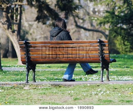 Young Girl On Bench