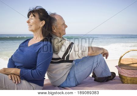 Couple relaxing at picnic on beach