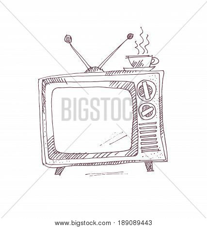 vintage TV set in sketch graphic style. hand drawn vector illustration of television and cup of coffee