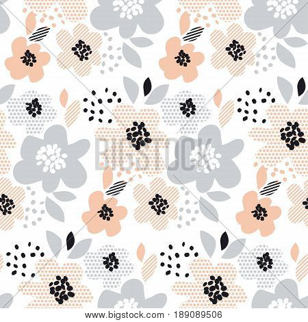 romantic pale color floral seamless pattern vector illustration. flower with geometric motif for surface design, wrapping paper, background, print