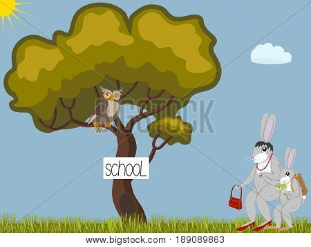 Rabbit-mother leads a little rabbit-son to forest school, owl-teacher on the tree, vector illustration