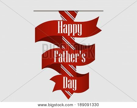Happy Father's Day. Striped Red Tie With Ribbon And Shadow. Vector Illustration