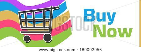 Buy now concept image with text and related symbol.