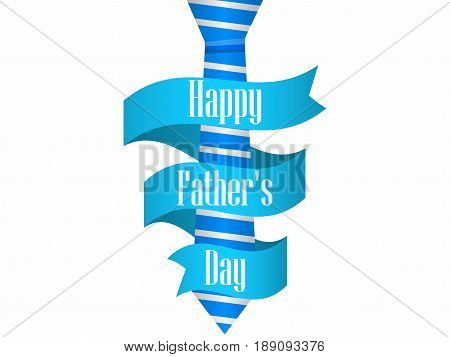 Happy Father's Day. Blue tie with ribbon on white background. Vector illustration