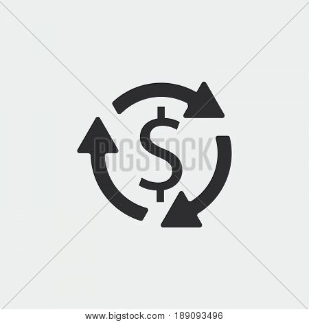 Money turnover icon vector isolated on grey
