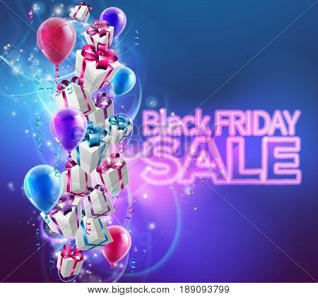 Black Friday Sale background with gift wrapped presents and balloons and Black Friday SALE neon text
