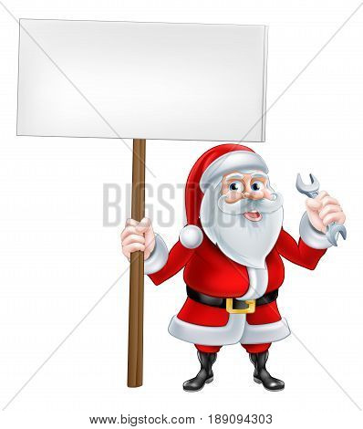 A Christmas cartoon illustration of mechanic Santa Claus holding sign and spanner