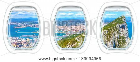 Three porthole frame windows on top of Gibraltar Rock. Gibraltar is a territory of South West Europe which is part of the United Kingdom.