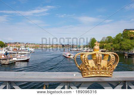 STOCKHOLM, SWEDEN - MAY 21, 2017: View from Skeppsholmen bridge in Stockholm. The capital city of Sweden is built on 17 islands.