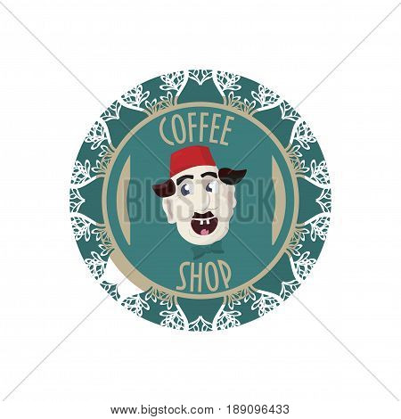 Coffee shop sign, symbol  or stamp with turkish man with fez hat on. Great for turkish coffe promotion.