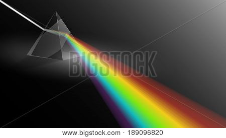 Light Passing Through a Triangular Prism. Physics Illustration Template. EPS10 Vector