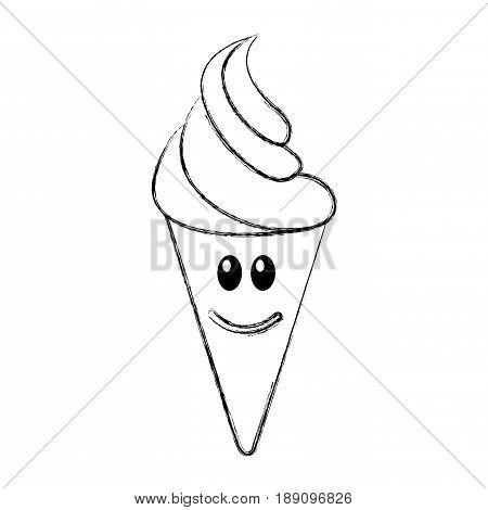 Delicious ice cream cone kawaii character vector illustration design