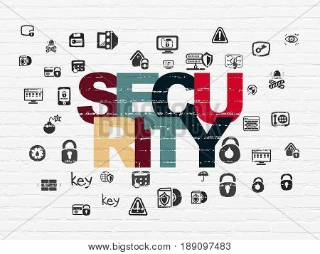 Security concept: Painted multicolor text Security on White Brick wall background with  Hand Drawn Security Icons